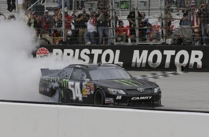 Kyle Busch celebrates after winning the Nationwide Series race on Saturday.