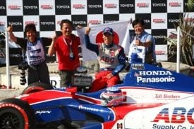 Takuma Sato, like any racer, has had his shares of ups and downs. Here's one of his brighter moments: his first career IndyCar Series win at the Long Beach Grand Prix.