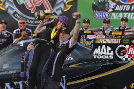 Alexis DeJoria, pictured here with Jesse James in Phoenix, is just one of 14 female drivers with wins in NHRA competition. Photo by Gary Nastase.