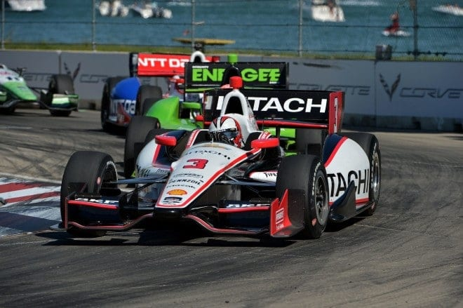 2014 IndyCar Belle Isle Castroneves leading