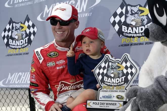Kevin Harvick and son Keelan in victory lane at Michigan. (Credit: CIA)