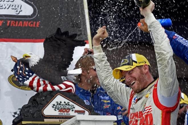 2014 Pocono I CUP Dale Earnhardt Jr champagne CIA