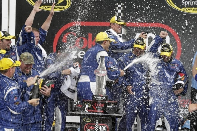 2014 Daytona II CUP Aric Almirola spraying champagne CIA