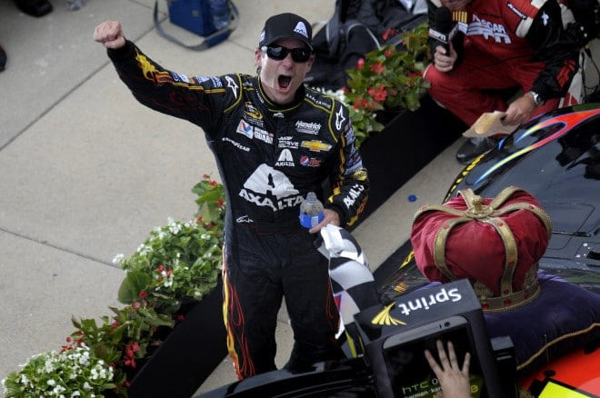 Jeff Gordon celebrates after winning the 2014 Brickyard 400. (Credit: CIA)