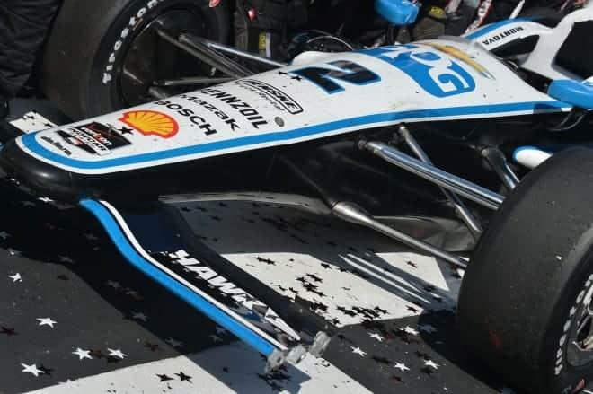2014 IndyCar Pocono Montoya broken front wing