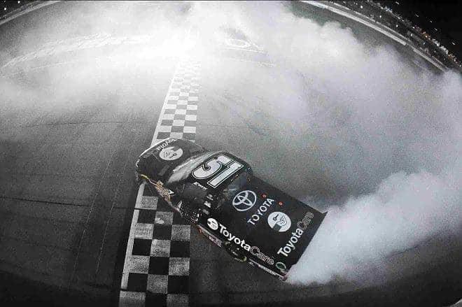 2014 Iowa CWTS Erik Jones burnout credit NASCAR via Getty Images