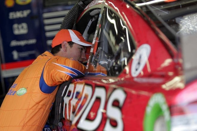 Joey Logano visits teammate Brad Keselowski at New Hampshire Motor Speedway. (Credit: CIA)