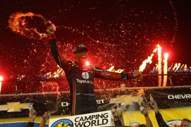 Darrell Wallace celebrates a dominating win at Eldora Speedway.  Credit: Mike Neff
