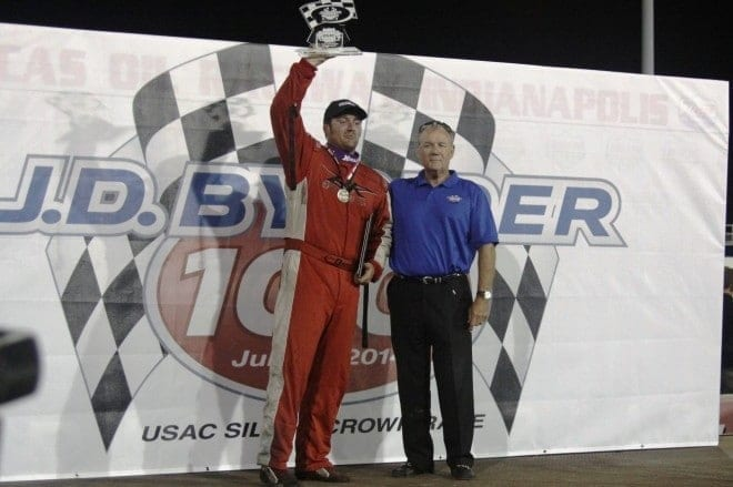David Byrne makes final lap pass to win J.D. Byrider Rich Vogler Classic  Credit: Mike Neff
