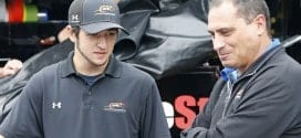 Ernie Cope (right) talks to Chase Elliot (left). (Credit: JR Motorsports)