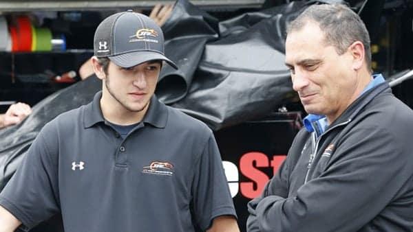 Ernie Cope (right) talks to Chase Elliot (left). (Credit: JR Motorsports)