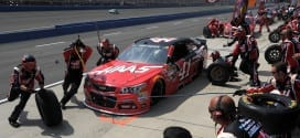 2015 Fontana CUP Kurt Busch pit stop  credit NASCAR via Getty Images