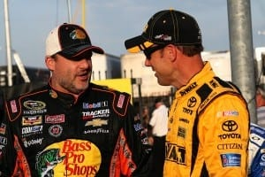 Tony Stewart and Matt Kenseth chat priot to Coca-Cola 600 qualifying at Charlotte Motor Speedway