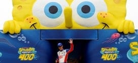 2015 Kansas I CUP Joey Logcano big creepy SpongeBob credit NASCAR via Getty Images