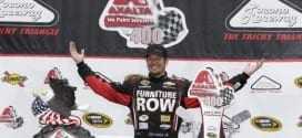 Martin Truex, Jr. in Victory Lane at Pocono Raceway after winning the Axalta 400