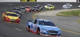 Ryan Blaney leads a pack of cars during the 5-hour Energy 301 at New Hampshire Motor Speedway