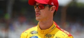 Joey Logano in the garage at Indianapolis Motor Speedway