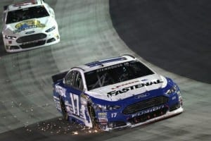 Ricky Stenhouse, Jr. suffers damage after contact during the Irwin Tools Night Race at Bristol Motor Speedway