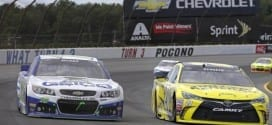Matt Kenseth races with Casey Mears during teh Windows 10 400 at Pocono Raceway