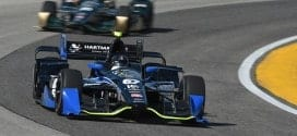 Josef Newgarden on track at the Milwaukee Mile (credit: IndyCar)