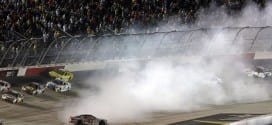Kurt Busch goes for a spin during the 2015 Bojangles' Southern 500 at Darlington Raceway