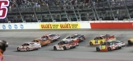 The NASCAR Sprint Cup field races during the 2015 Bojangles' Southern 500 at Darlington Raceway