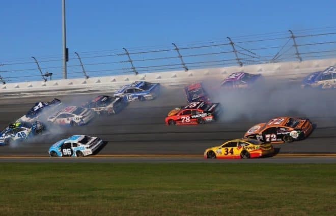 Second Big Wreck Collects Daytona 500 Contenders Johnson, Harvick